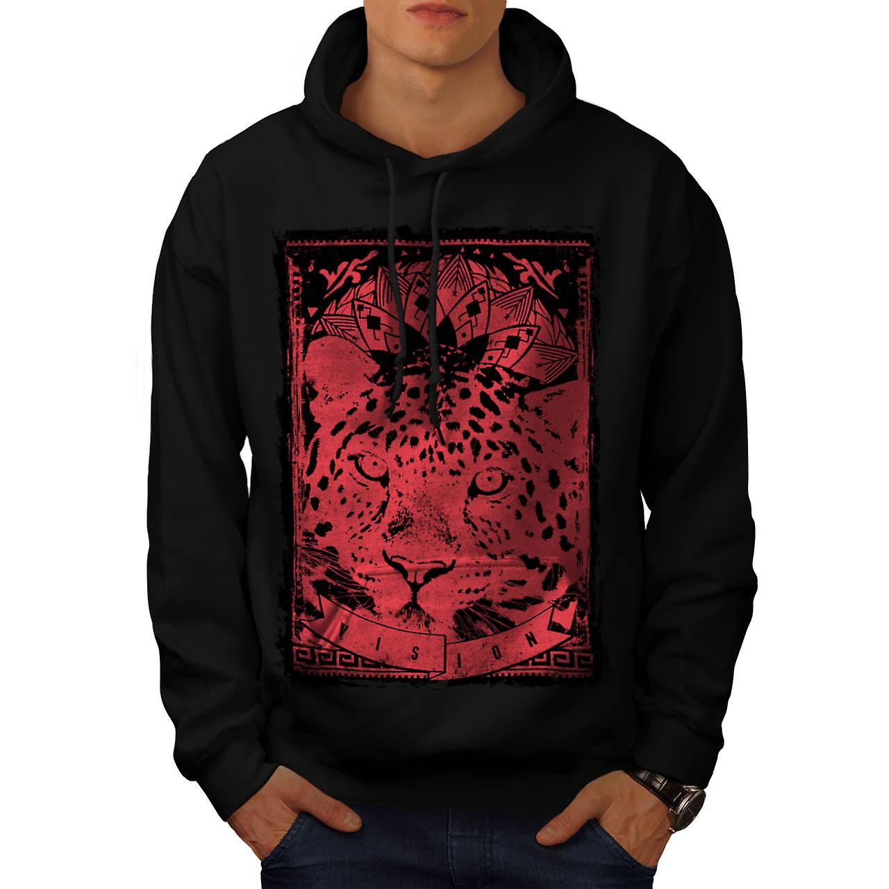 Leopard Cat Vision Angry Animal Men Black Hoodie | Wellcoda