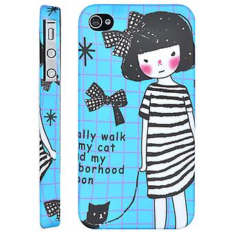 Cover Girl with Cat, in hard plastic, to iPone 4/4s (blue)