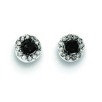 Sterling Silver Black and White Diamond Circle Post Earrings - .25 dwt