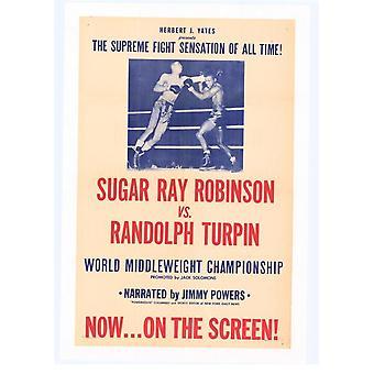 Sugar Ray Robinson vs Randolph Turpin Movie Poster Print (27 x 40)