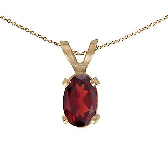 14k Yellow Gold Oval Garnet Pendant with 18