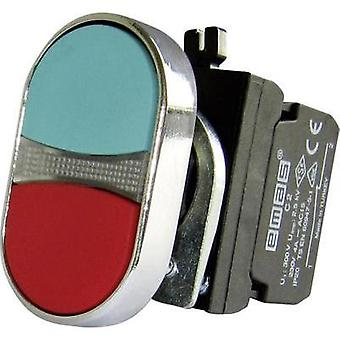 Double head pushbutton planar, Front ring (steel), + contact Red, Green