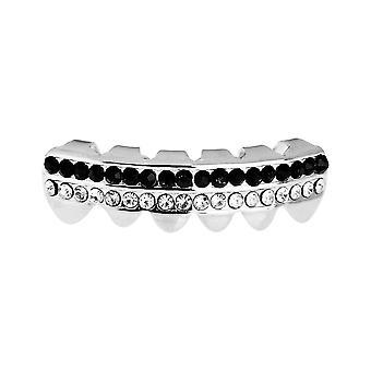 One Size Fits All Bling Grillz - DOUBLE DECK BOTTOM - Silber