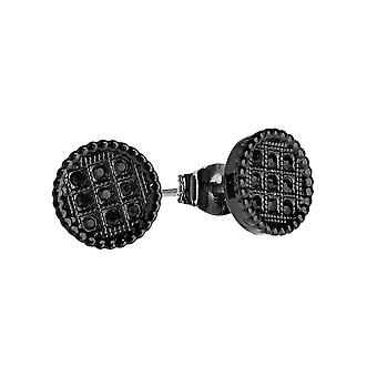 Iced out bling earrings box - ROUND 10 mm black