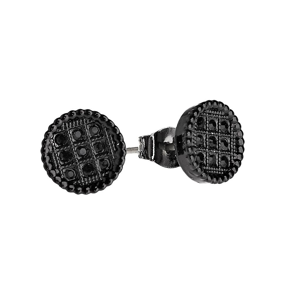 Iced Out Bling Ohrstecker Box - ROUND 10mm schwarz