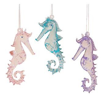 Coastal Pink Purple Blue Seahorses Glass Christmas Holiday Ornaments Set of 3