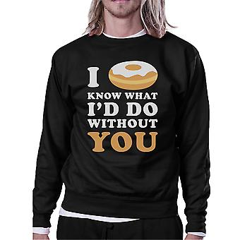 I Doughnut Know Black Sweatshirt Humorous Design Crew Neck Pullover