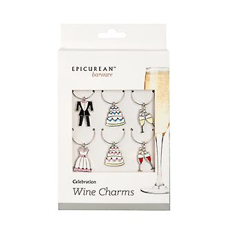 Epicurean Wine Glass Charms Party Celebration Set of 6