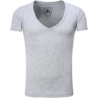 Akito Tanaka T-Shirt basic V neck grey
