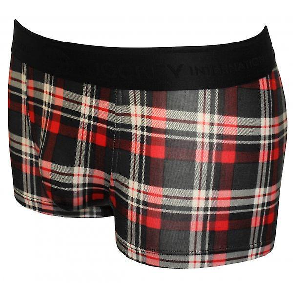 Jockey Winter Resort Check Print Boxer Trunk, Red/Black