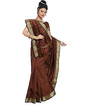 Tela marrón de seda arte sari Sari India oro frontera