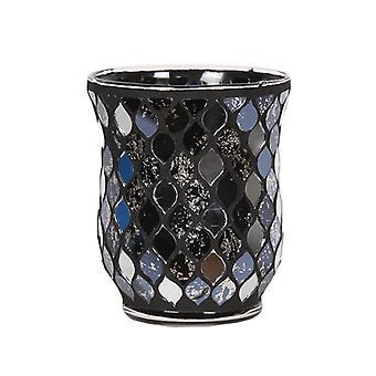 Aroma Black Mirrored Teardrop Hurricane Candle Holder