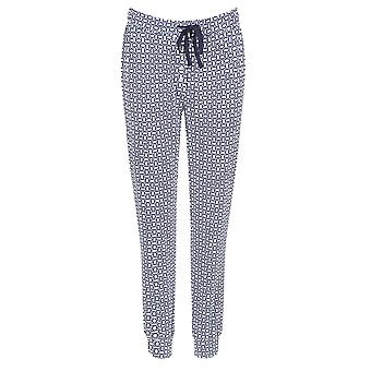 Pastunette Deluxe 5062-349-9-570 Women's Blue and White Geometric Print Cotton Pyjama PJ Bottoms