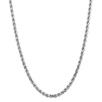 14k White Gold Solid Lobster Claw Closure 5mm Sparkle-Cut Rope Chain Bracelet - Lobster Claw - Length: 7 to 8
