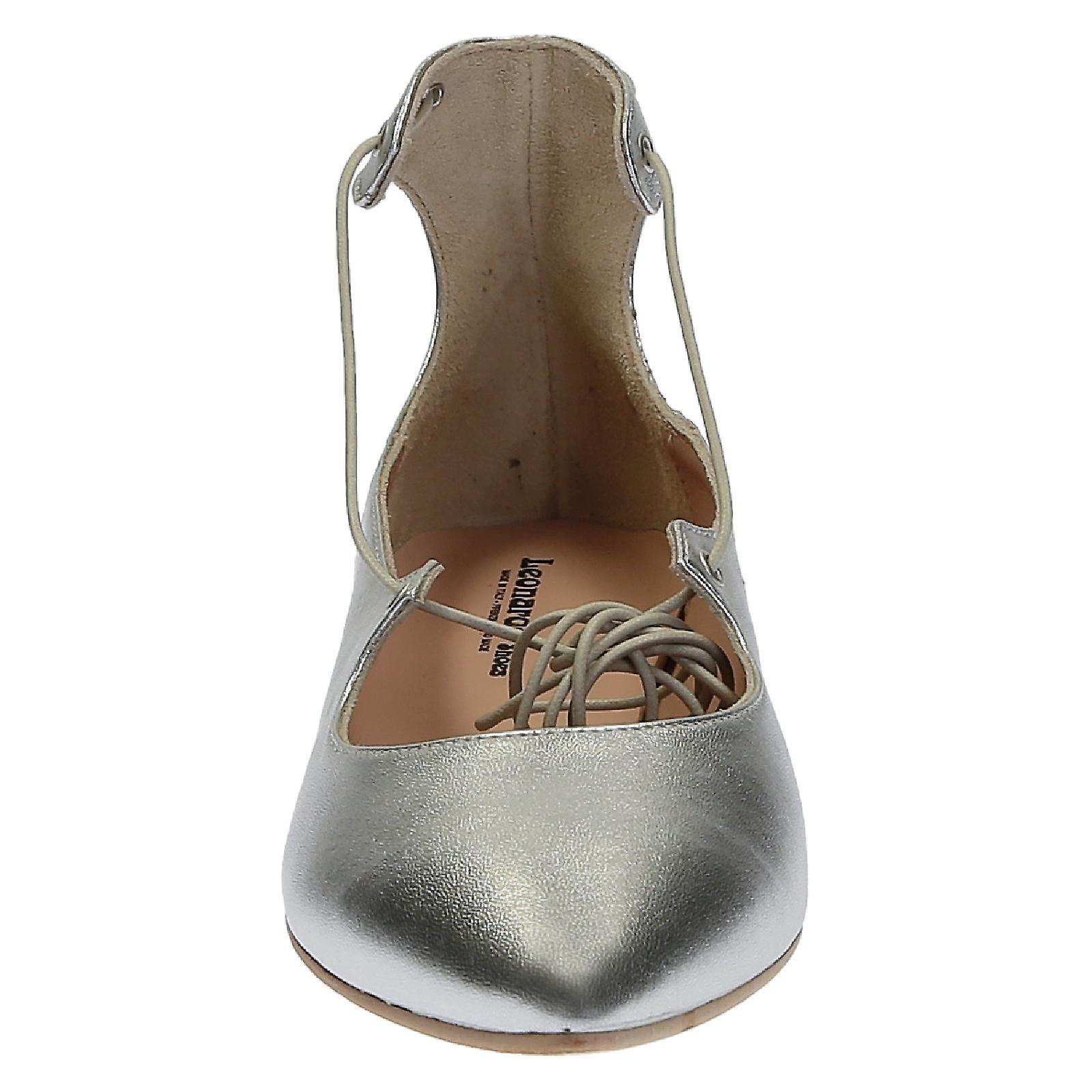 in soft leather ballerinas laminated up silver Lace wCx1qHT1