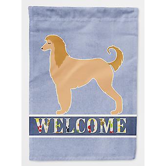 Carolines Schätze BB5510CHF Afghanischer Windhund willkommen Fahne Leinwandgröße Haus