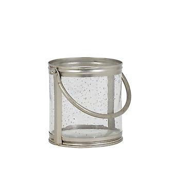 Light & Living Hurricane Ø20x17 Cm BORNES Glass Antique+handle Silver