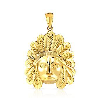 10k Yellow Gold Native American Charm Pendant Indian Chief Tribal Head