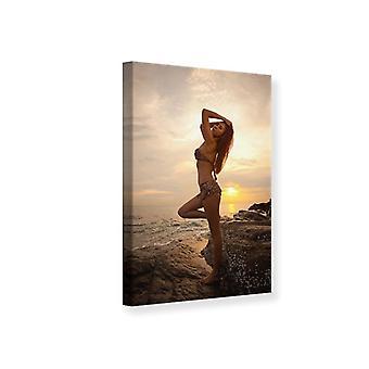 Canvas Print Bikini Schönheit bei Sonnenuntergang