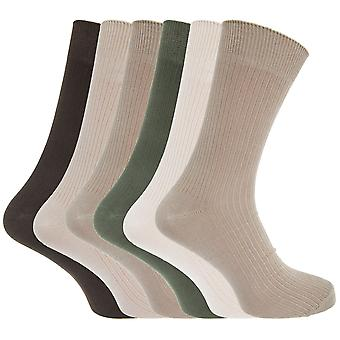 Mens Bamboo Super Soft Breathable Ribbed Socks (Pack Of 6)