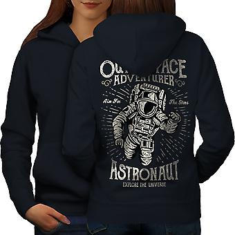 Space Adventure Fashion Women NavyHoodie Back | Wellcoda