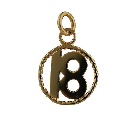 9ct Gold 17mm number 18 in twisted wire circle Pendant or Charm