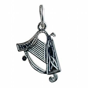 Silver 15x11mm Harp Pendant or Charm