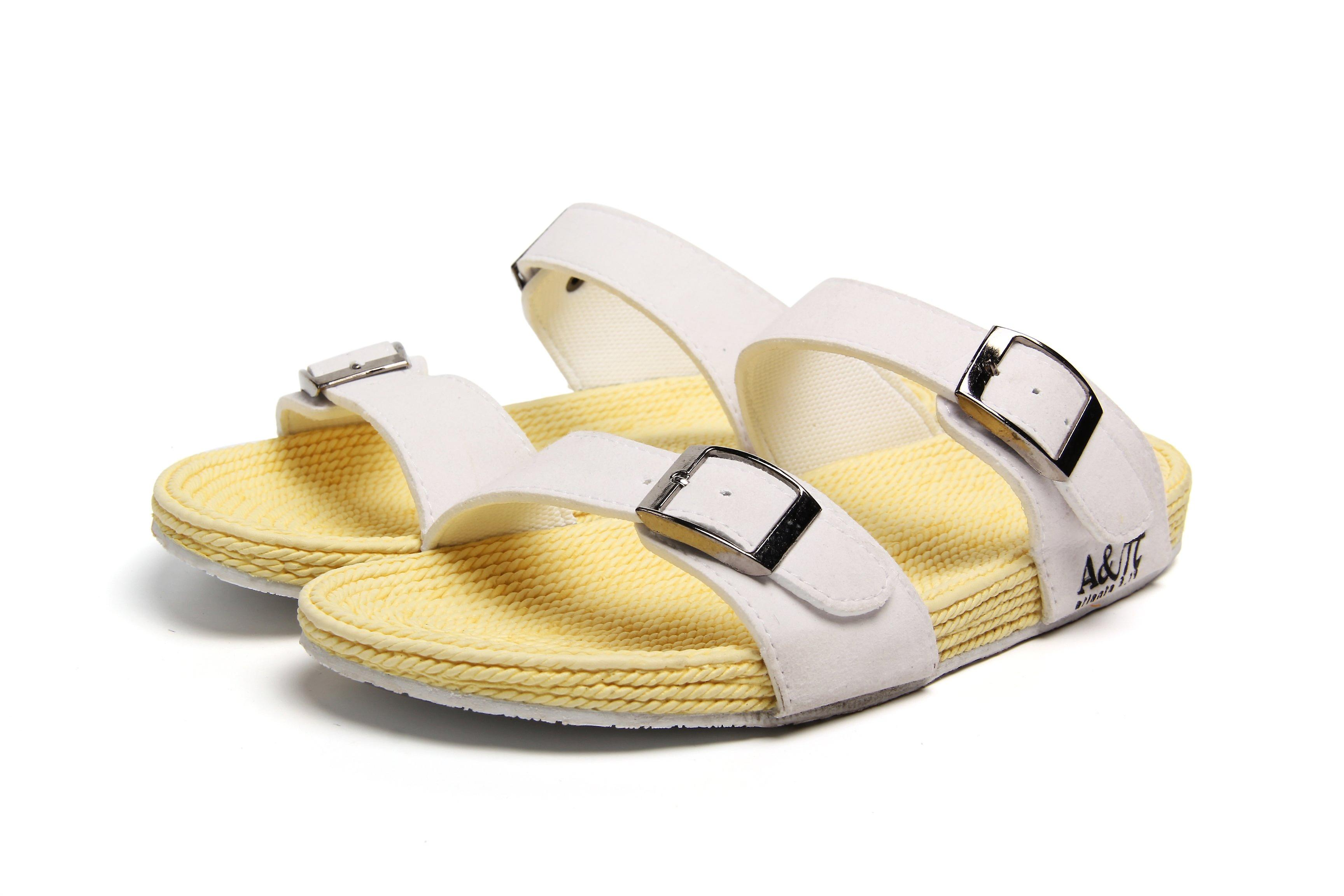 Atlantis Shoes Women Supportive Cushioned Comfortable Sandals Dual Band White-beige
