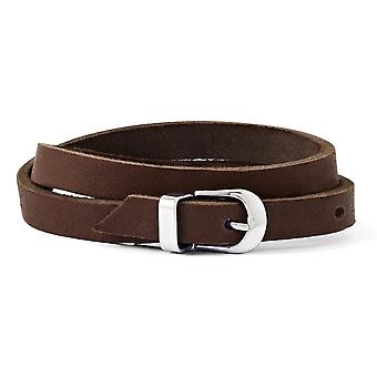 Stainless Steel Brown W/ Buckle Clasp Leather Bracelet - 20mm
