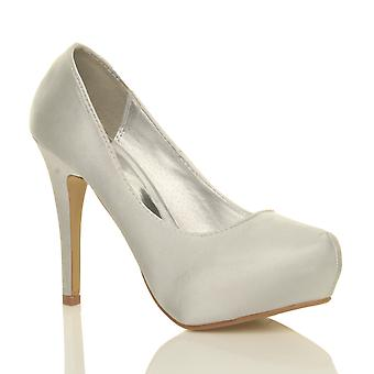 Ajvani womens bridal wedding prom party high heel platform pumps court shoes shoes