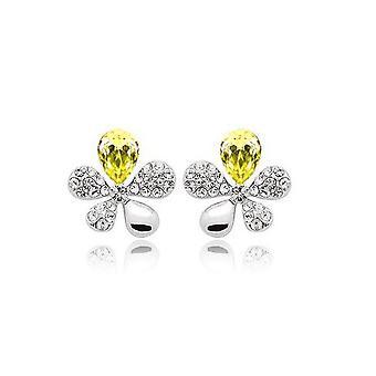 Ladies Yellow Flower Butterfly Earrings