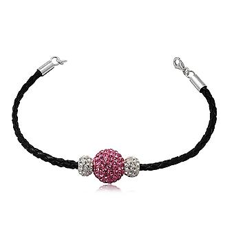 Black pearls Crystal Rose and white leather bracelet and Silver 925