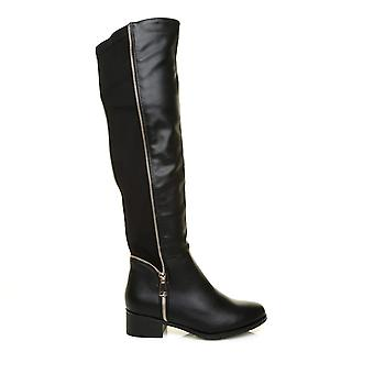 AMBER Black PU Leather Elasticated Stretch Riding Boots With Gold Zip Trim