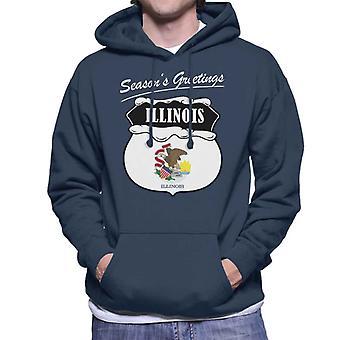 Seasons Greetings Illinois State Flag Christmas Men's Hooded Sweatshirt