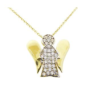 Gold necklace and zirconia little angel pendant