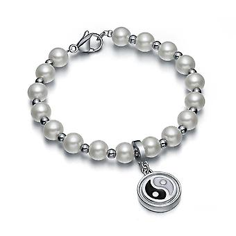 Amulett mit positiven Potenzen simulierte Perle Schnee weiß Yin Yang Zauberkreis Energie elegantes Armband