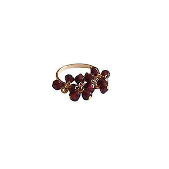 Gemshine - women's - ring - gold - Garnet - dark red