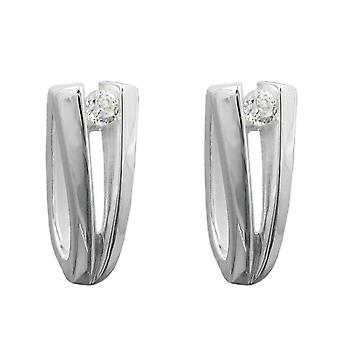 Fine silver Creole Creole white silver cubic zirconia earrings 925 sterling silver