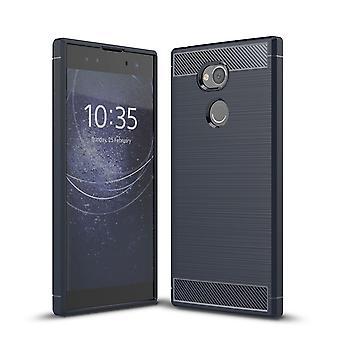 Sony Xperia XA2 Ultra TPU Case Carbon Fiber Optik Brushed Schutz Hülle Blau