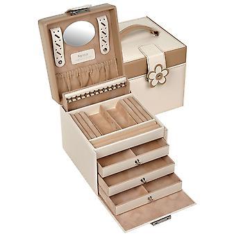 Sacher jewelry case jewelry box BELLA FIORE beige lockable drawers