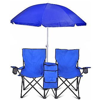 GoTeam Portable doppelt klappbaren Stuhl w/abnehmbare Tragetasche, Sonnenschirm und Kühltasche