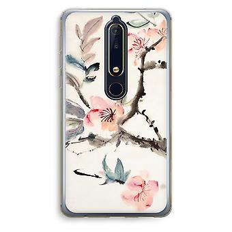 Nokia 6 (2018) Transparent Case - Japenese flowers