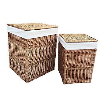 Set of 2 Light Steamed Square Laundry Baskets with White Lining