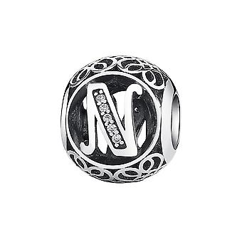 Sterling silver charm with zirconia stones letter N