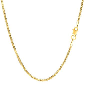14 k желтое золото раунда пшеницы ожерелье цепь, 1,5 мм