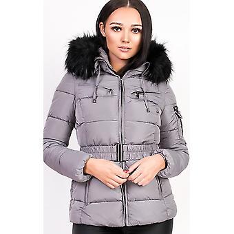 IKRUSH Womens Hadid Padded Faux Fur Hooded Jacket