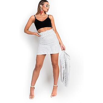 IKRUSH Womens Kirti Paperbag Pin-Striped Skirt