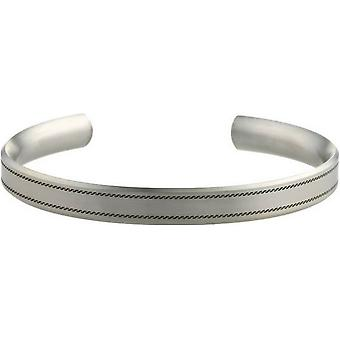 Ti2 Titan 8mm bred vågiga sytt mönster Bangle - Silver