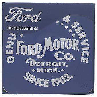 Ford Motor Co. Genuine Parts & Service set of 4 cork backed drinks coasters  (rh)