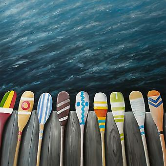COLORFUL PADDLES ON THE DOCK Poster Print by Atelier B Art Studio